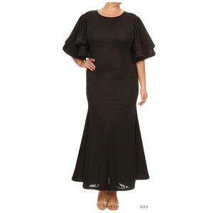Black Ruffle Sexy Plus Size Women's Maxi Dress 1XL